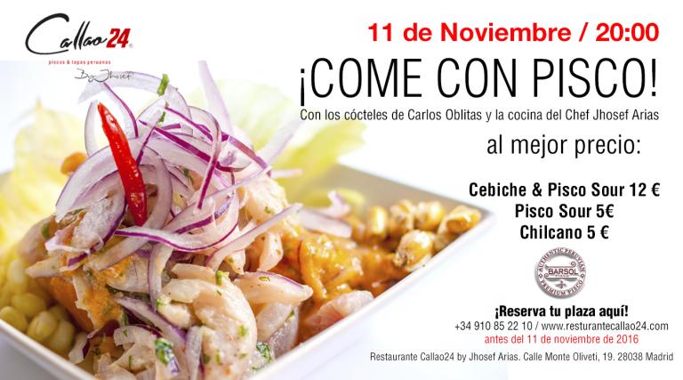 Come con Cebiche & Pisco Sour - Evento Noche 11 noviembre