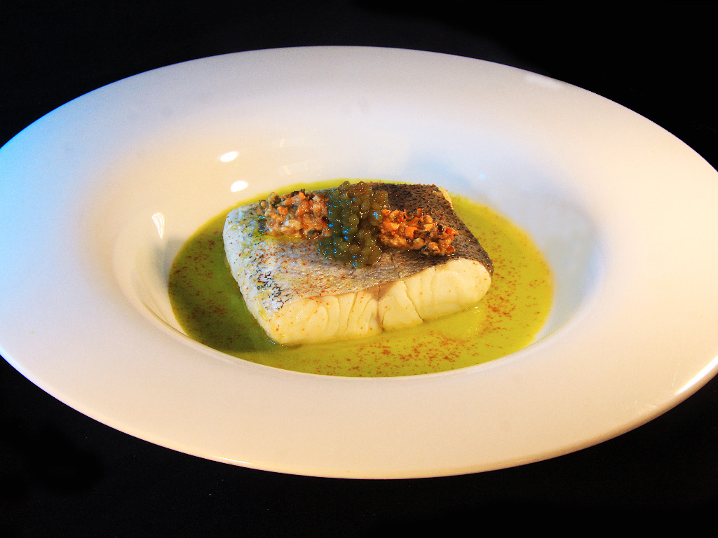 HAKE with black olive and pea
