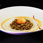 Broad Beans with crispy egg yolk