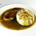 POACHED EGGS with foie and truffle sauce