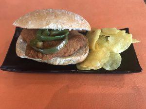 Bocatín de escalope de pollo con pimiento verde